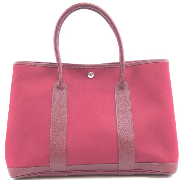 Hermès Handbags - Garden Party Bag Burgundy Red Leather Tote